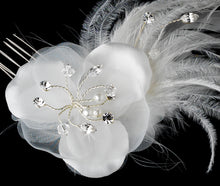 flower comb, feather flower comb, feather flower, bridal veil