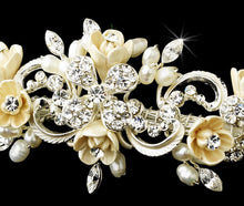 Elegant Floral Crystal & Pearl Bridal Headband - La Bella Bridal Accessories