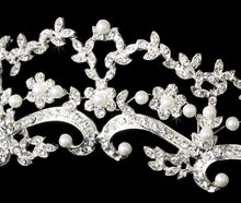 Beautiful Pearl & Crystal Wedding Tiara (Silver or Gold) - La Bella Bridal Accessories