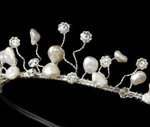 Keshi Pearl & Crystal Bridal Tiara - La Bella Bridal Accessories
