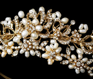 Gold or Silver Pearl Crystal Wedding Tiara - La Bella Bridal Accessories