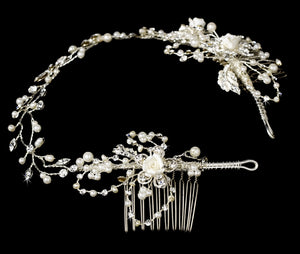 Crystal & Pearl Vintage Bridal Hair Vine Headpiece - La Bella Bridal Accessories