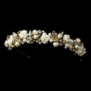 Golden Ivory Crystal and Pearl Wedding Headband