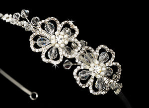 Floral Swarovski Bridal Headband - La Bella Bridal Accessories