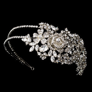 Antique Silver Plated Crystal Floral Bridal Headband - La Bella Bridal Accessories