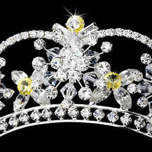 Sparkling Silver Plated Swarovski Crystal Tiara with Amber Accents - La Bella Bridal Accessories