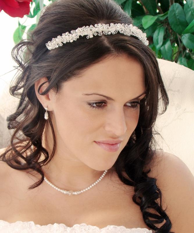 Swarovski Crystal Headband with Freshwater Pearls, Wedding Headpiece, Bridal headpieces