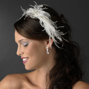 Whimsical Crystal Ostrich Feather Headband Headpiece - La Bella Bridal Accessories