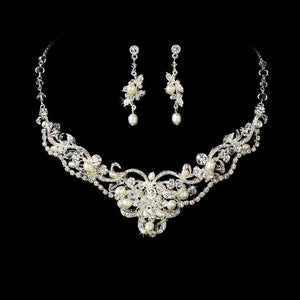 Stunning Swarovski Crystal & Freshwater Pearl Bridal Jewelry Set - La Bella Bridal Accessories