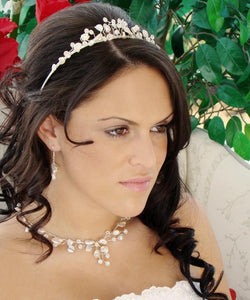 Freshwater pearl and floral crystal tiara & jewelry set - La Bella Bridal Accessories