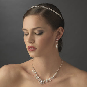 Sparkling Double Band Crystal Wedding Headband - La Bella Bridal Accessories