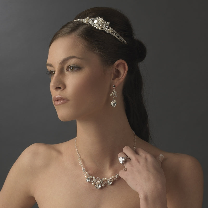 Crystal Pearl Side Accent Bridal Headband - La Bella Bridal Accessories