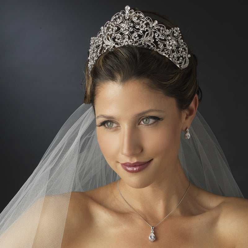 Antique Silver Royal Crystal Bridal Tiara - La Bella Bridal Accessories