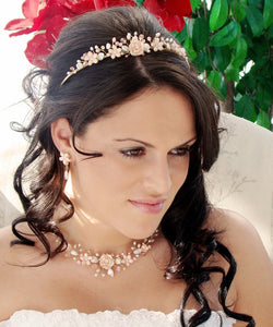 Blush Color Porcelain Pearl Floral Wedding Tiara - La Bella Bridal Accessories