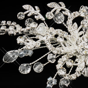 Silver Plated Swarovski Crystal Floral Bridal Headband on Sale... - La Bella Bridal Accessories