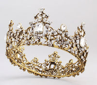 Hair Accessories - Baroque Style Diamond Crystal Full Round Tiara
