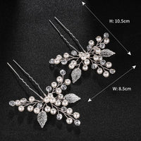 Leaf shape Rhinestone Hair Pin 2 pcs/ set