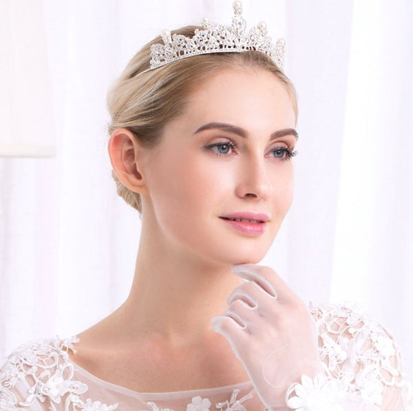 Hair Accessories - Bridal Pearl Rhinestones Crown Tiara