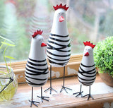 Wood Chicken Decoration Home Cafe Garden Restaurant 3 pcs Set