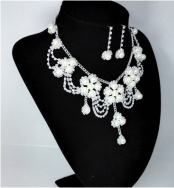 Wedding Accessories - Grand Bride Rhinestones Pearl 2 pcs set Earring Necklace set