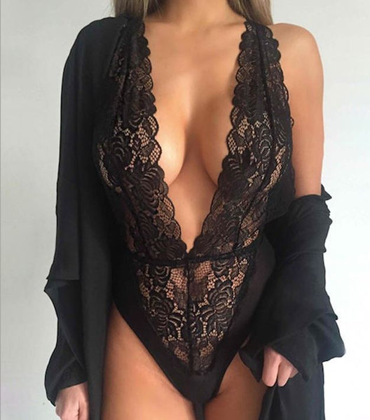 Women's Sexy Lace V Neck Halterneck Teddy Lingerie Nightwear