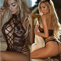 Women's Lace Sexy Lingerie Suit Rose Pattern with Hairband