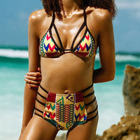 Geometry Print Style Bikini 2 Pcs Set Swim Wear