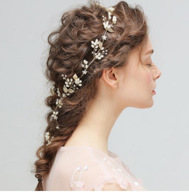 Hair Accessories - Faux Pearl Flower Leaf Wedding Hairband