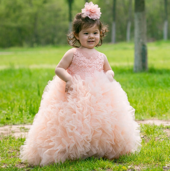 Ball Gown Floor Length Flower Girl Dress Organza Sleeveless