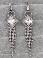 Square Diamond Long Earrings