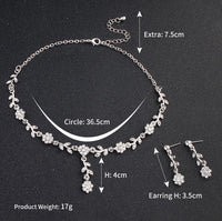 Floral Crystal Rhinestones Necklace Earring 2pcs Set