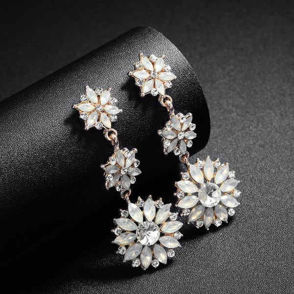 Sun Flower Zinc Alloy Austria Crystal Earring
