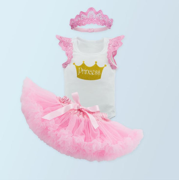 New Born Princess Sleeveless Baby Dress 3 pcs Set ( 0-24 mths )