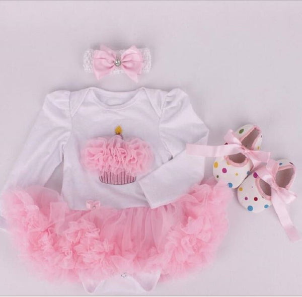 Infant Long Sleeve Bodysuit with Dress Hairband Shoes 3 pcs Set