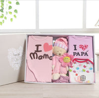 New Born Baby Infant I Love Mama / Papa Bobysuit Set