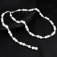 Pearl with Rhinestones Necklace Back Chain