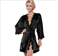Women's Satin Silk Robes With Lace Nightwear