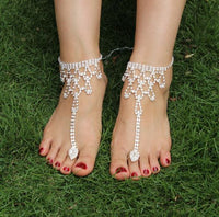 Rhinestone Barefoot Sandals Toe Ring Anklets Wedding Anklets