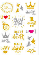 Tattoo Stickers - Bride/Groom team Wedding Party foil stickers Temporary