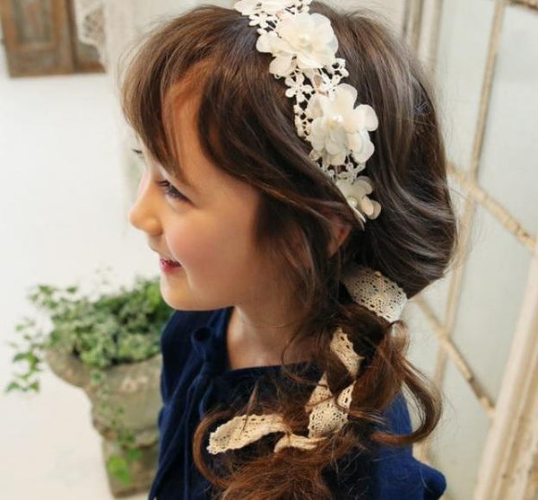 Flower Girls hair accessories- Floral Lace Ribbon hairband