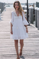 White Lace Ruffle 3/4 Sleeve Dress Beach Clover Top