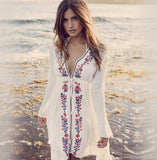 White with Embroidery Beach Clover Summer Dress