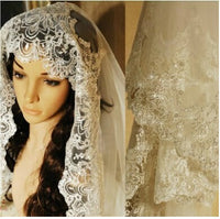 Wedding Veil - One-Tier Chapel Veil Cathedral Veil Lace Applique Edge