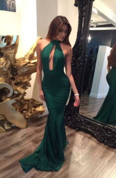 Solid Color Deep V Backless Maxi Length Evening Gown