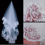 Wedding Veil - Lace Flower Edge Veil