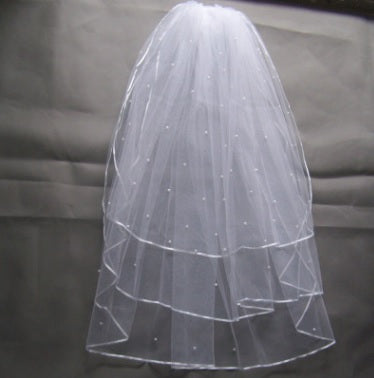 Wedding Veil - 3 Tier Peals Beaded Ribbon Edge Comb Veil