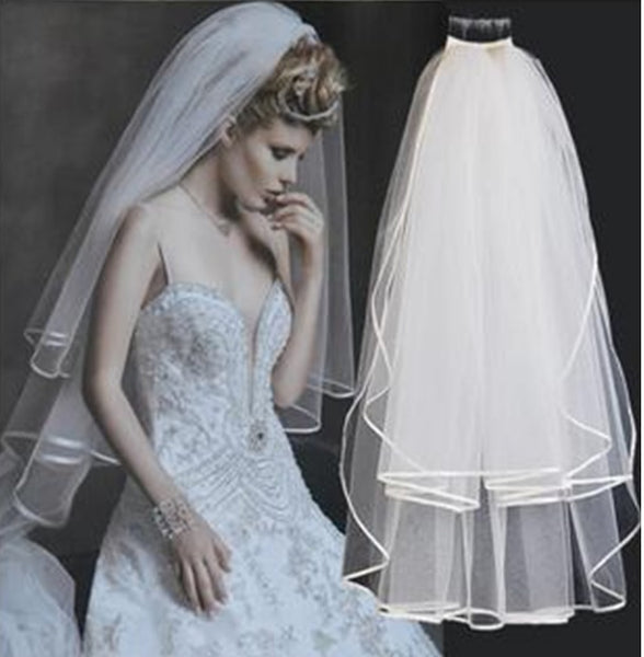 Wedding Veil - 2 Tier Ribbon Edge Comb Veil