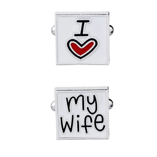 "Groom accessories - Cufflink "" I love my wife"" Wedding Groom Anniversary"