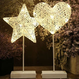 Rattan Woven LED Love Heart or Star Desk Light
