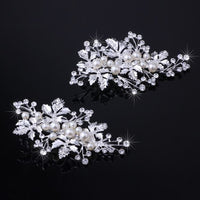 Silver with Pearl Crystal Barrette for Wedding Hair Jewelry (2pcs/set)